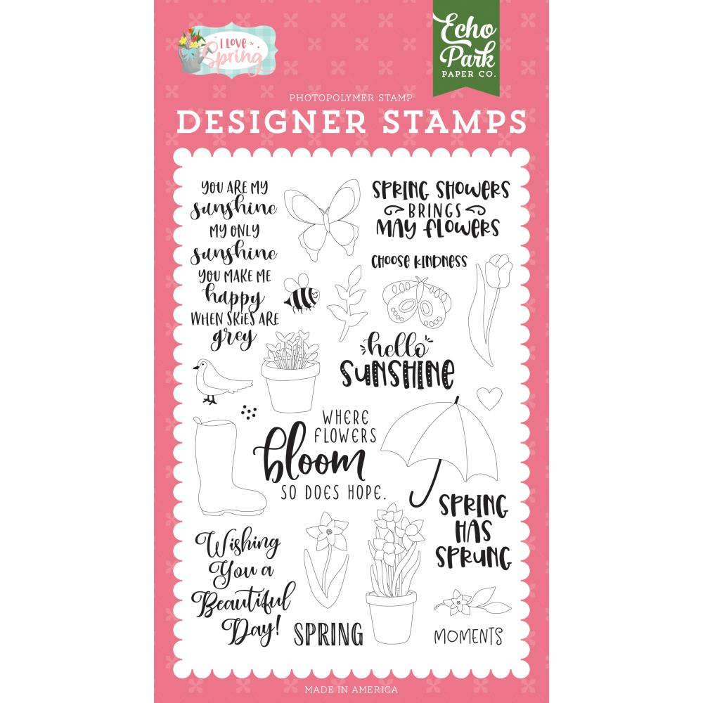 Spring Showers, I Love Spring Acrylic Stamps by Echo Park