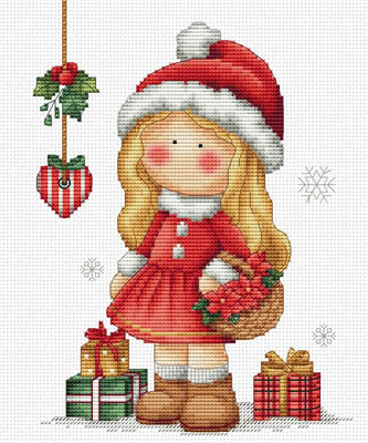Christmas Girl Cross Stitch Pattern by Les Petites Croix De Lucie