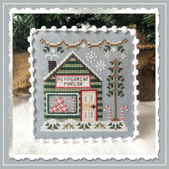 Snow Village 4 - Peppermint Parlor Cross Stitch Pattern by Country Cottage Needleworks