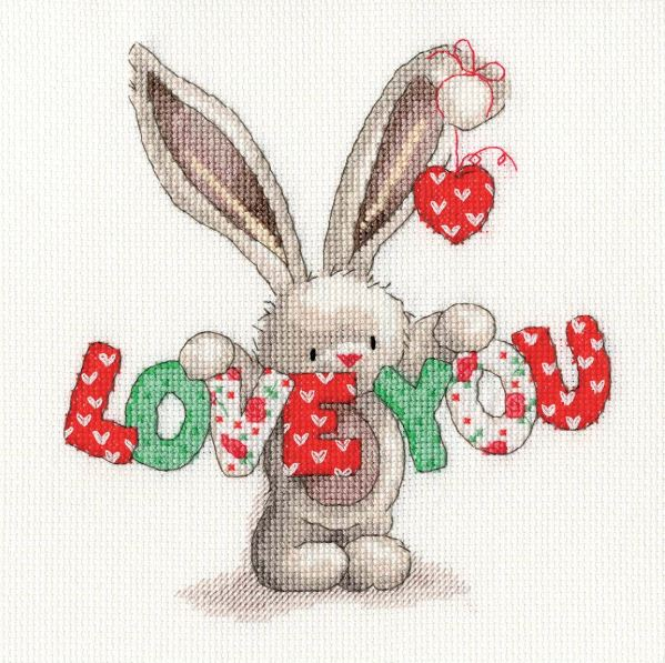 Bunny Hearts Counted Cross Stitch Pattern