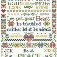 Let Not Your Heart Sampler Cross Stitch Pattern by Imaginating