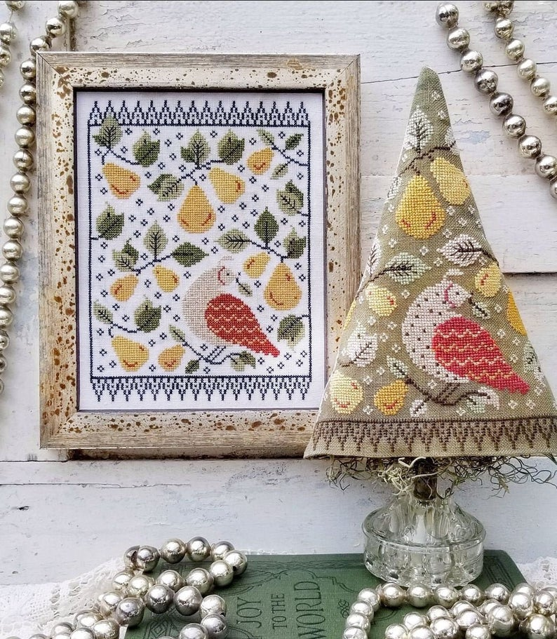 Hello From Liz Matthews FIRST DAY of CHRISTMAS Sampler Cross Stitch Pattern - Pear Cross Stitch Pattern