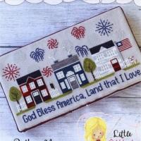 Little Stitch Girl FIREWORK LANE Cross Stitch Pattern – Patriotic Cross Stitch