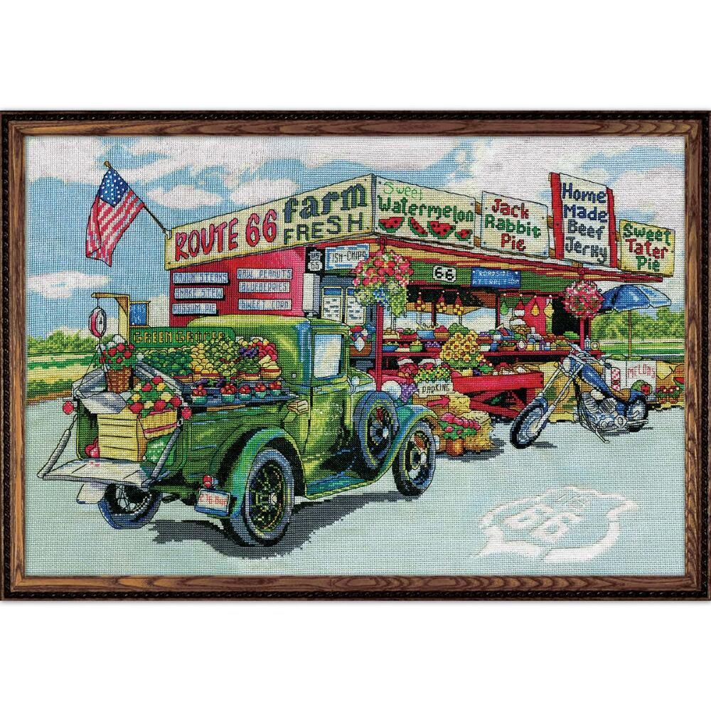 Route 66 Farmstand Cross Stitch Kit