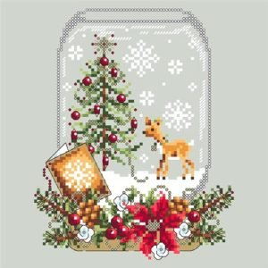 Shannon Christine DEER SNOW GLOBE Cross Stitch Pattern – Christmas Cross Stitch
