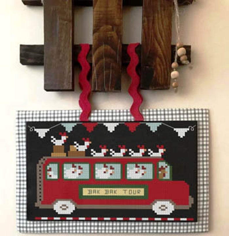 Twin Peak Primitives Cross Stitch Pattern CHICKEN EXPRESS Hit the Road Series #3