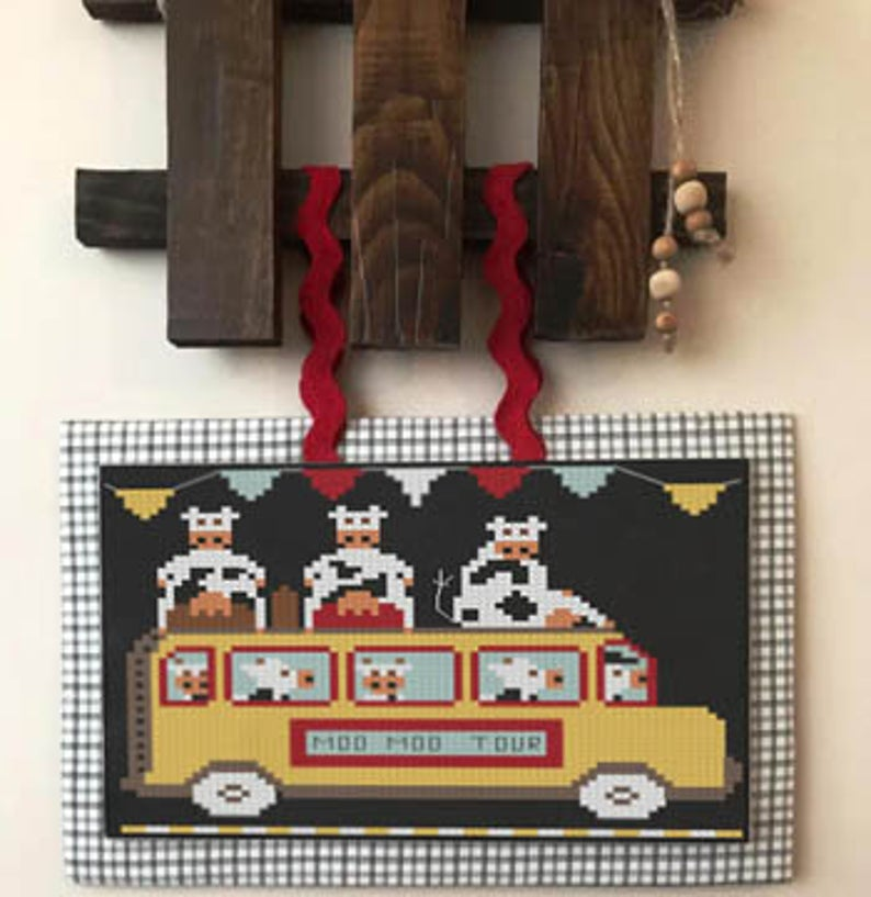 Twin Peak Primitives Cross Stitch Pattern COW EXPRESS Hit the Road Series #1