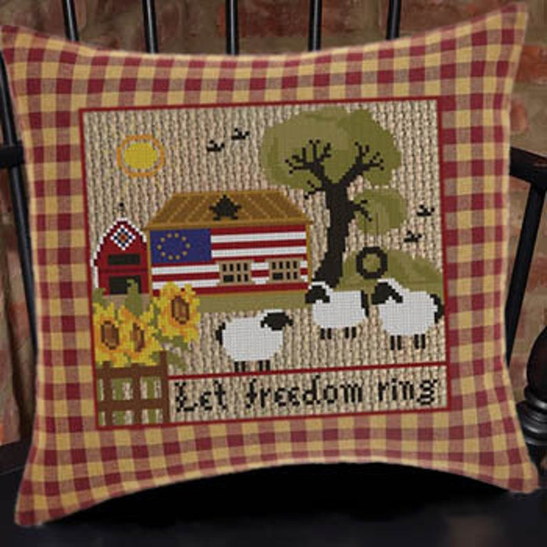 Twin Peak Primitives Cross Stitch Pattern LET FREEDOM RING