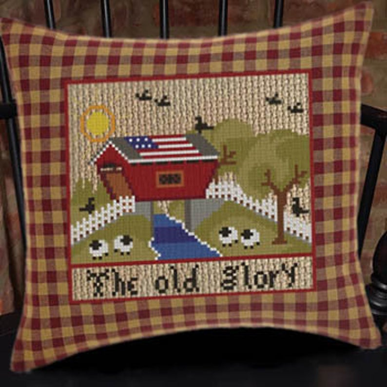 Twin Peak Primitives OLD GLORY Cross Stitch Pattern - PATRIOTIC Cross Stitch Pattern