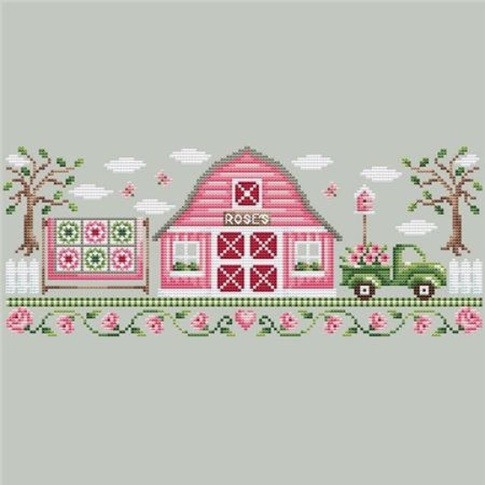 Shannon Christine PINK BARN Cross Stitch Pattern ~ Rose Farm Collection #1