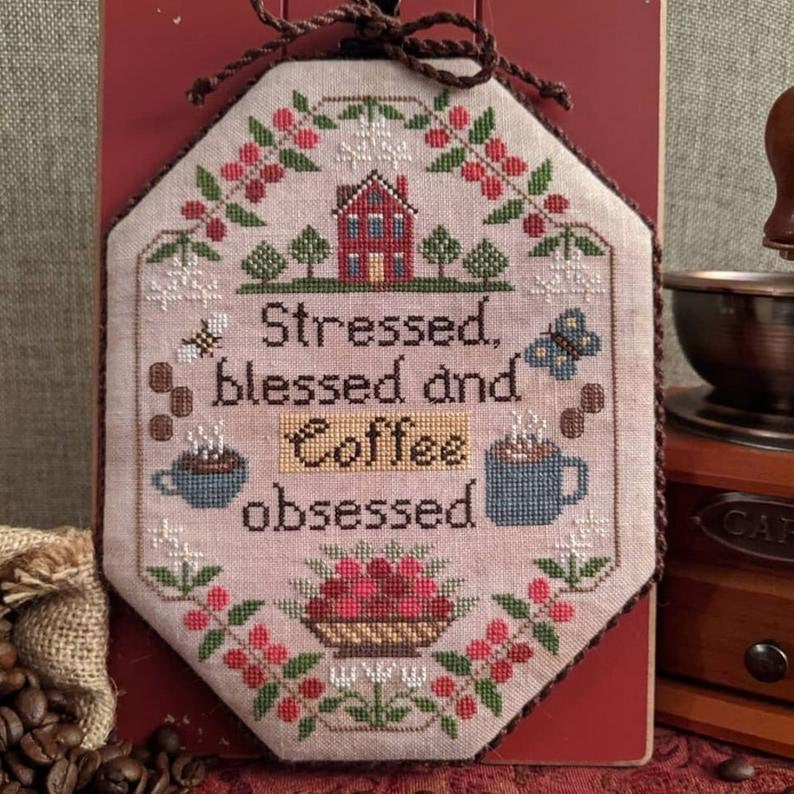 Coffee Obsessed Cross Stitch Pattern by Lila's Studio