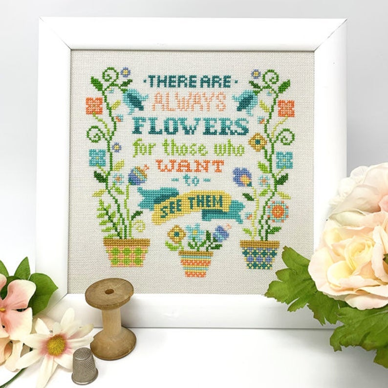 Tiny Modernist ALWAYS FLOWERS Cross Stitch Pattern