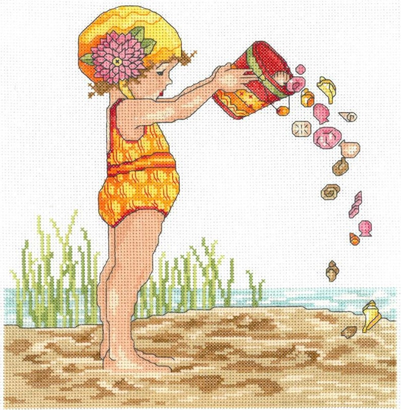 BUCKET OF SHELLS Cross Stitch Pattern by Imaginating - Mary Engelbreit