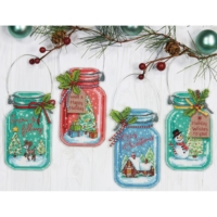 Christmas Jars Ornaments Counted Cross Stitch Kit by Dimensions