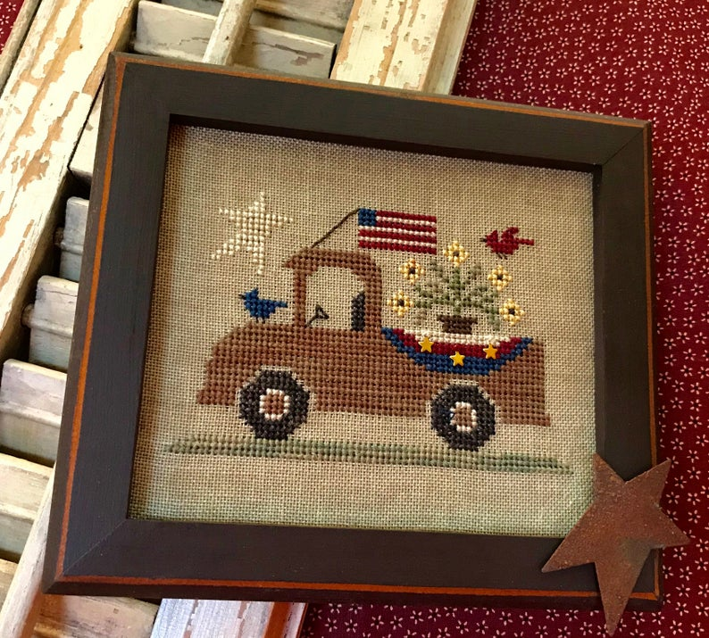Homespun Elegance An ALL AMERICAN TRUCK Cross Stitch Pattern