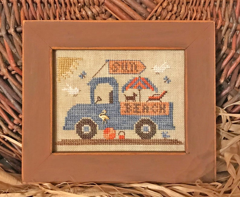 Homespun Elegance BEACH FUN TRUCK Cross Stitch Pattern