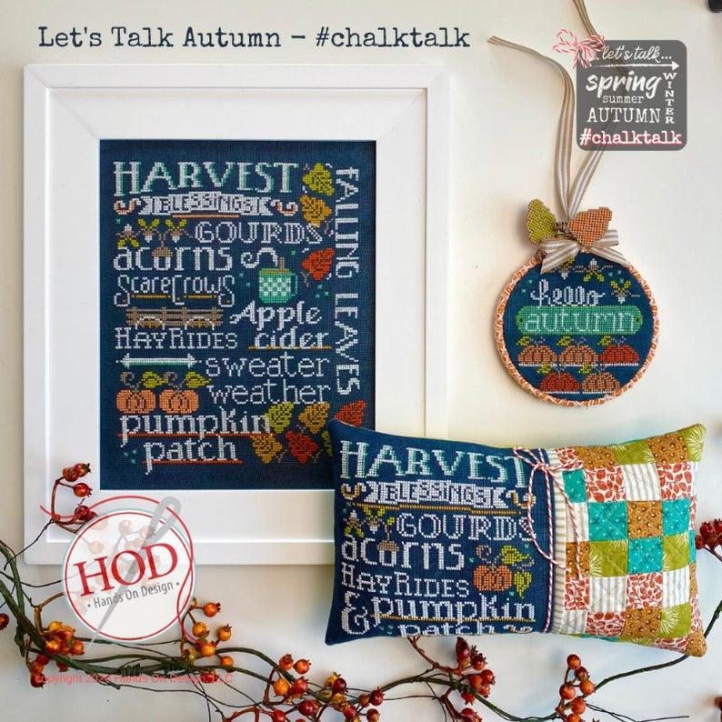 Let's Talk Autumn Cross Stitch Pattern by Hands in Design