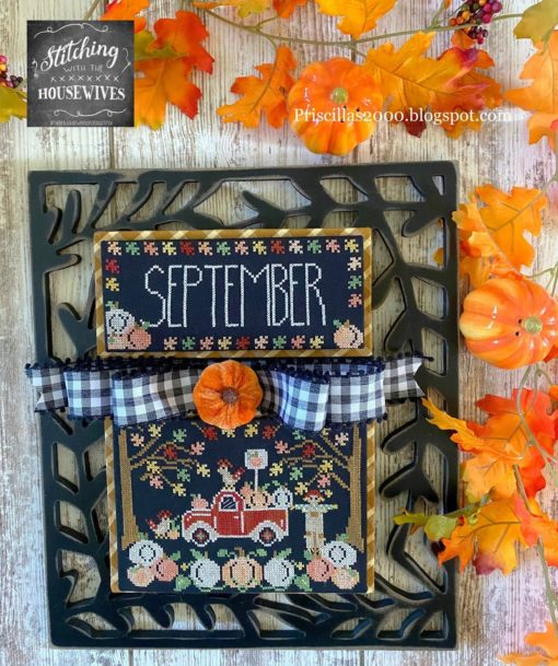 TRUCKIN' ALONG SEPTEMBER Cross Stitch Pattern Stitching With The Housewives - Priscilla Blain