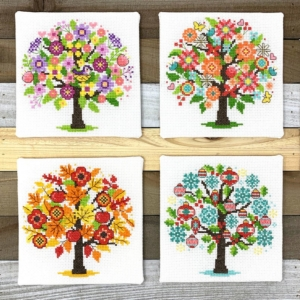 Tiny Modernist Seasonal Trees Cross Stitch Pattern