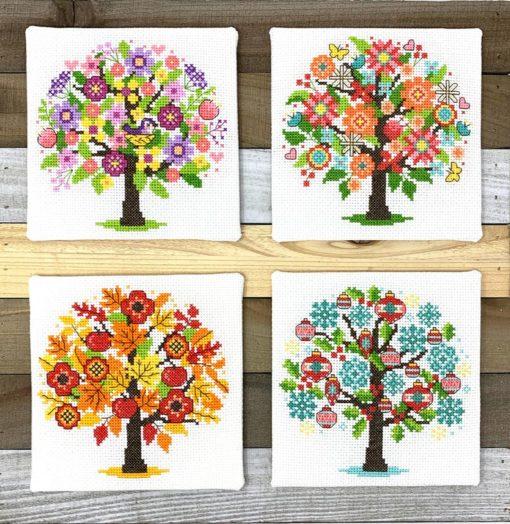 Tiny Modernist Seasonal Trees Cross Stitch Pattern