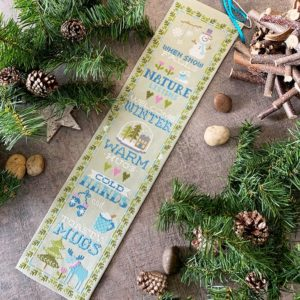 Tiny Modernist Winter Bell Pull Cross Stitch Pattern