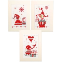 Vervaco Christmas Gnomes Cards Counted Cross Stitch Kit