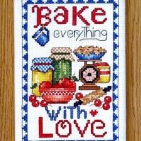 Bobbie G. Designs BAKE EVERYTHING WITH LOVE Cross Stitch Kit