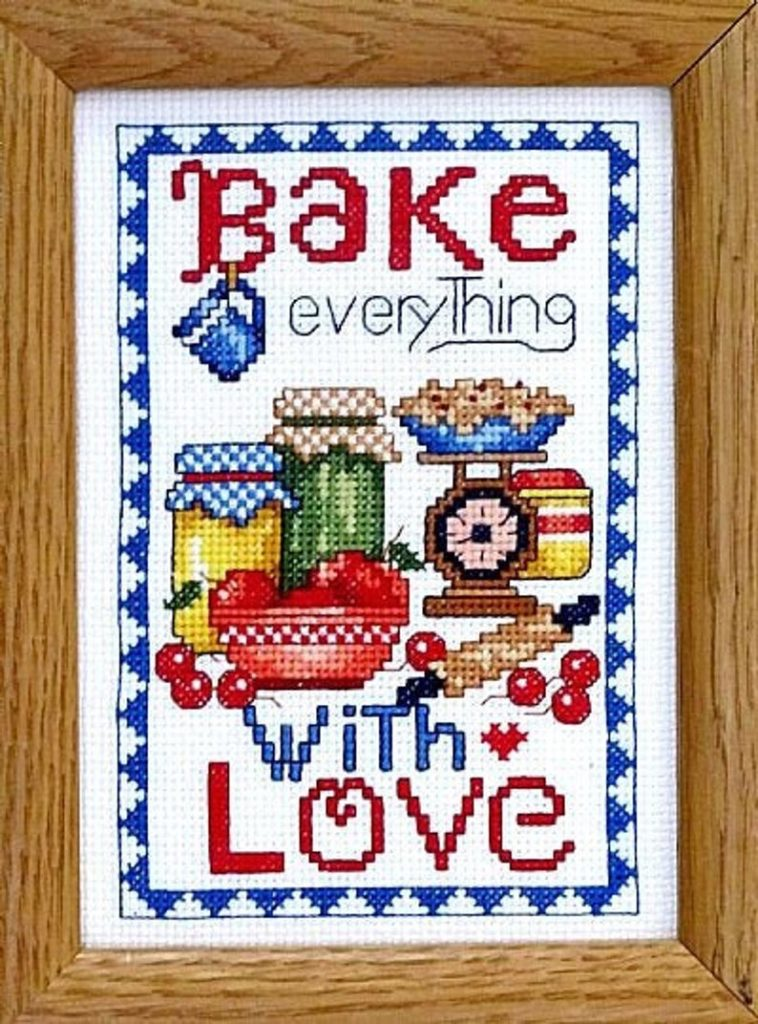 Bobbie G. Designs BAKE EVERYTHING WITH LOVE Cross Stitch Pattern