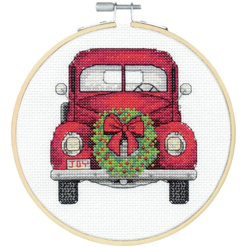 """Dimensions CHRISTMAS TRUCK Cross Stitch Kit With Hoop 6"""" - Christmas Cross Stich"""