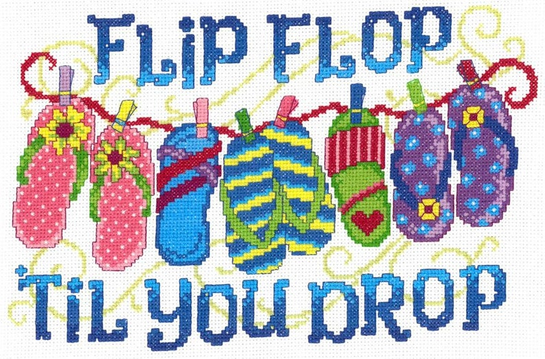 FLIP FLOP Till You DROP Cross Stitch Pattern by Imaginating