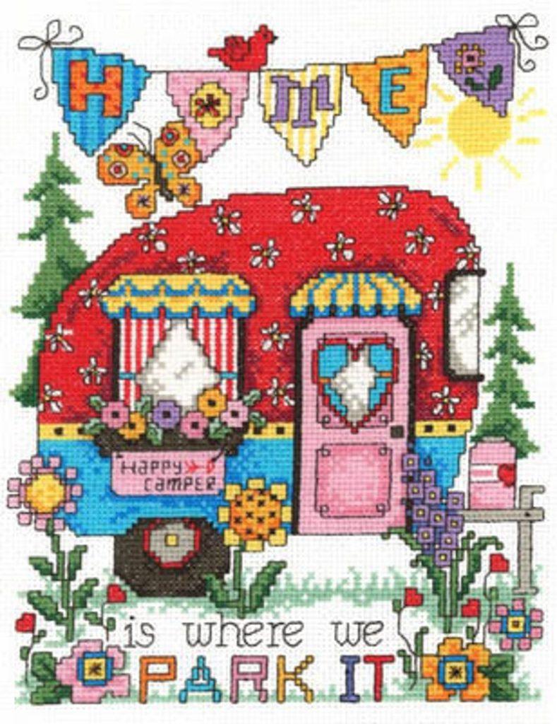 Imaginating HAPPY CAMPER Cross Stitch Pattern