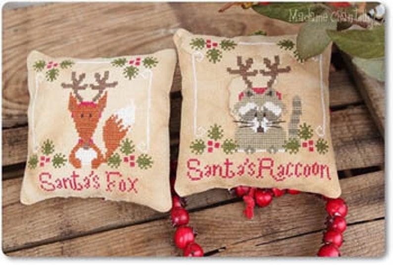 Madame Chantilly Santa's FOX & RACCOON Cross Stitch Pattern