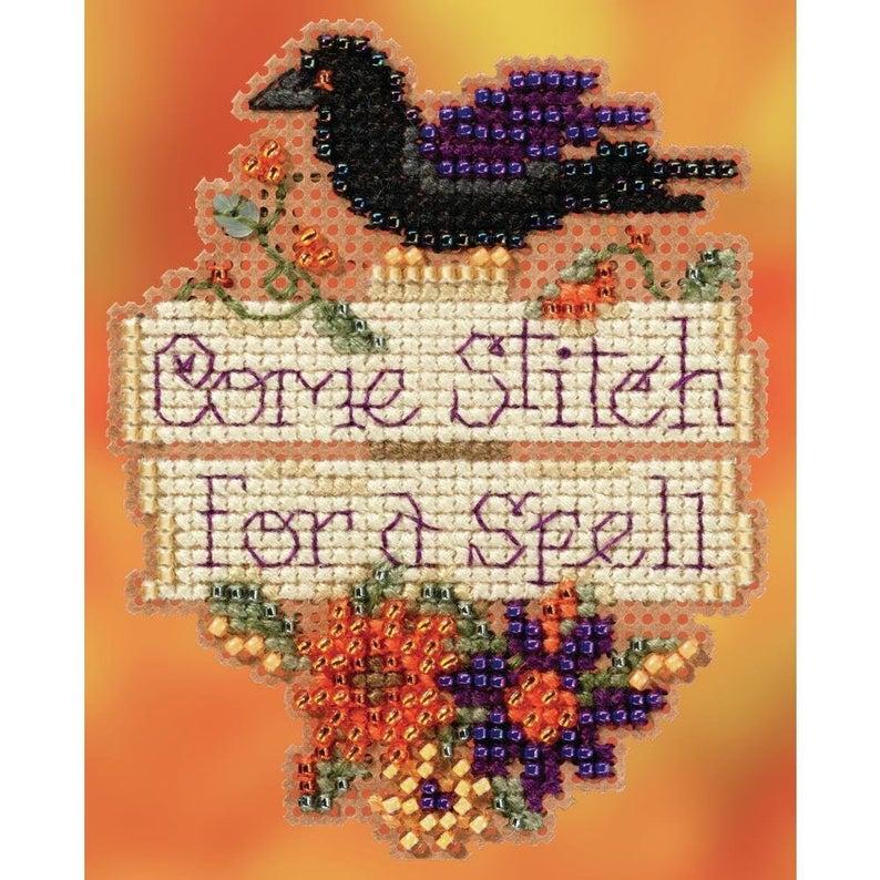 Mill Hill COME STITCH for a SPELL Cross Stitch Kit - Halloween Cross Stitch Kit