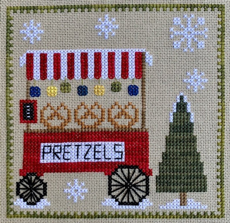 Pickle Barrel CHRISTKINDLMARKT PRETZEL STAND Cross Stitch Pattern #6
