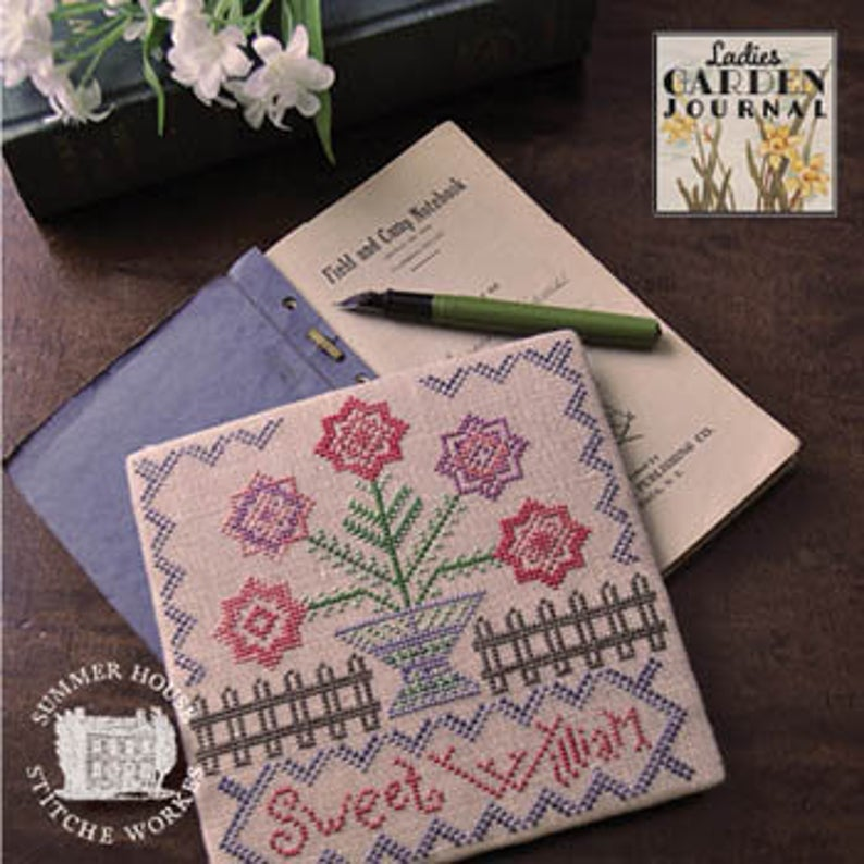 Summer House Stitch Workes LADIES GARDEN JOURNAL Sweet William #1 Cross Stitch Pattern