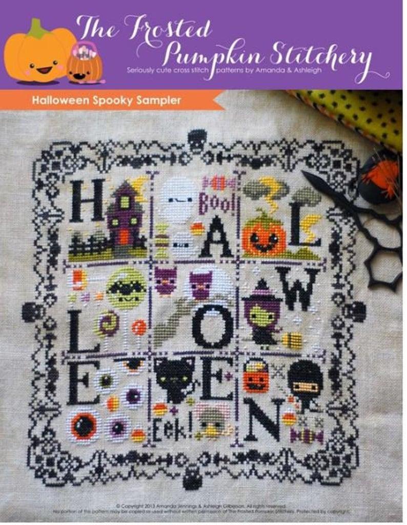 The Frosted Pumpkin Stitchery SPOOKY SAMPLER Cross Stitch Pattern