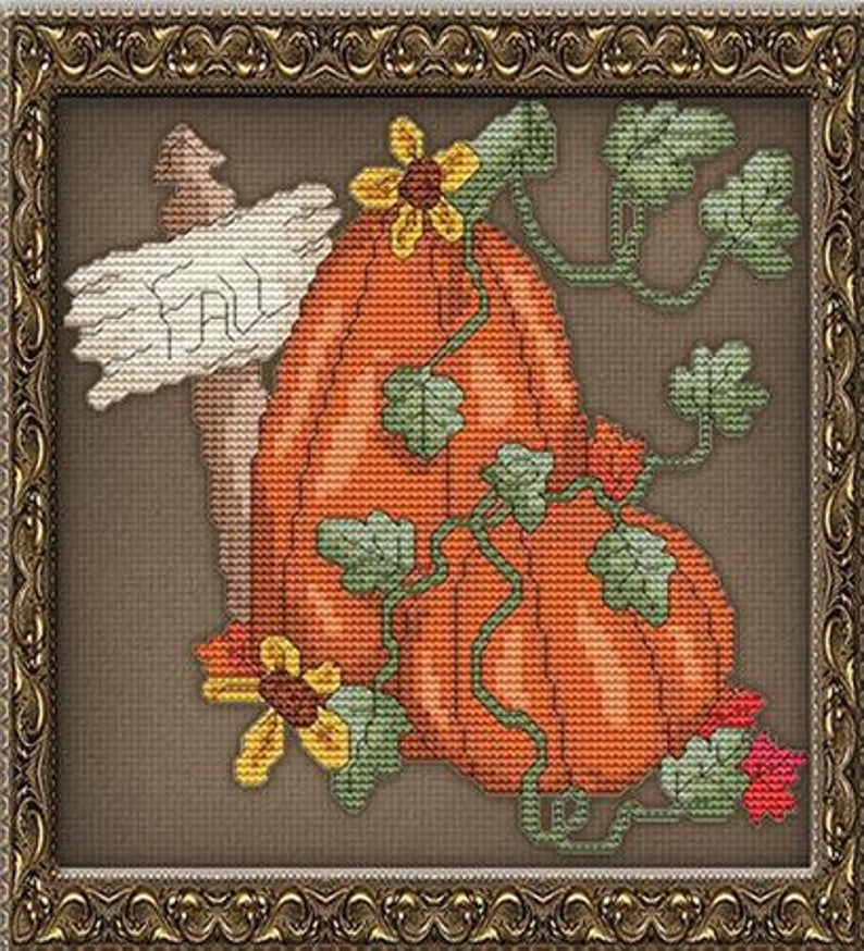 StitchX Craft FALL PUMPKIN Cross Stitch Pattern - Autumn Cross Stitch