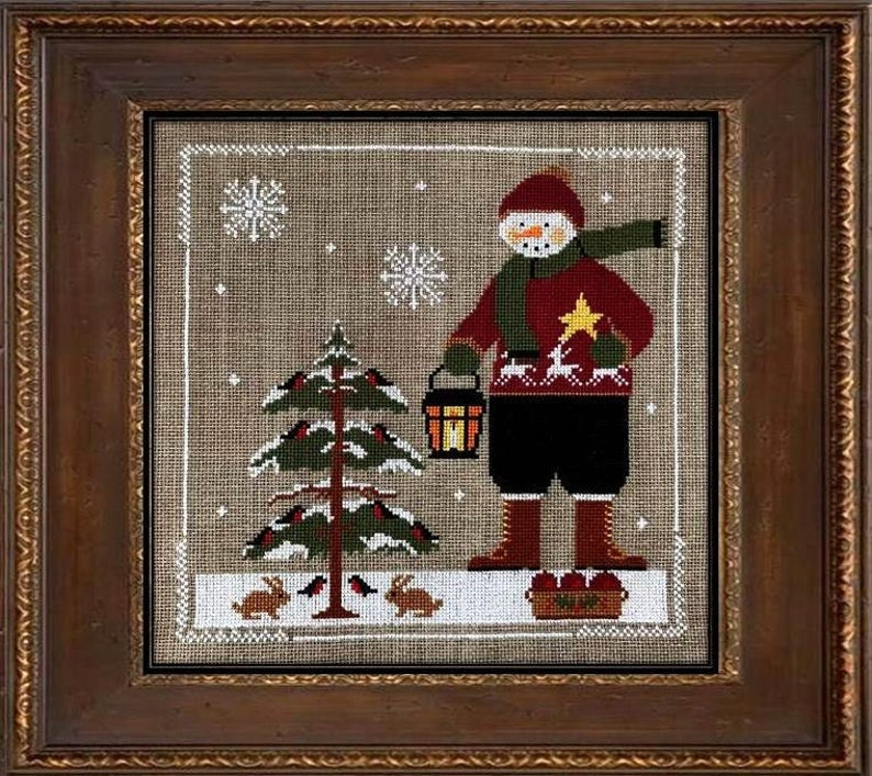 Twin Peak Primitives SNOWMAN 2020 Cross Stitch Pattern