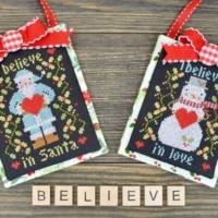 Annie Beez Folk Art I BELIEVE In CHRISTMAS Cross Stitch Pattern