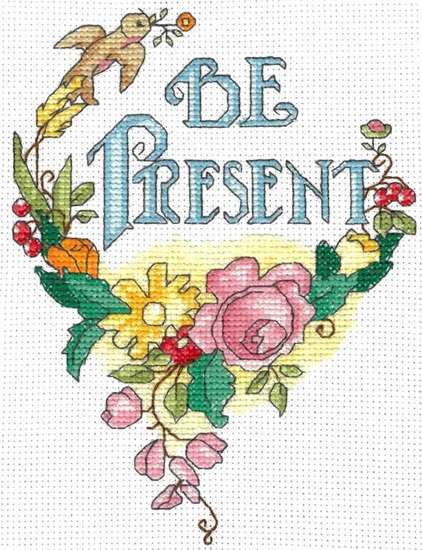 Mary Engelbreit BE PRESENT Cross Stitch Pattern by Imaginating