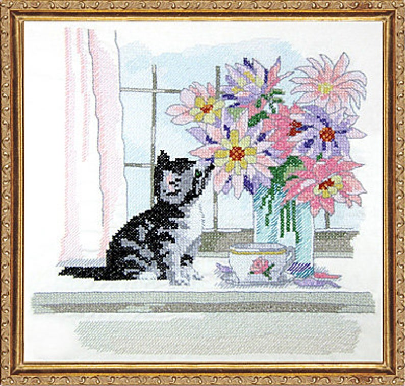 "Design Works CAT With VASE STAMPED Cross Stitch Kit 12""x12"" ~ Stamped Embroidery Kit"