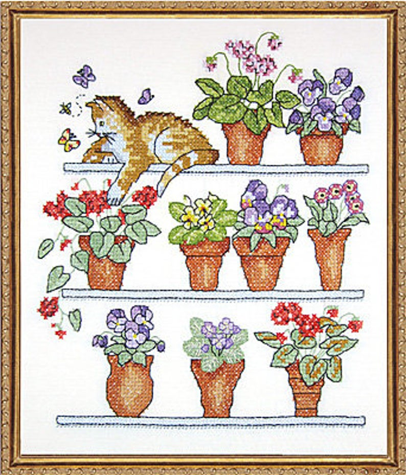 "Design Works CAT on SHELF STAMPED Cross Stitch Kit 10""x12"" - Stamped Embroidery Kit"