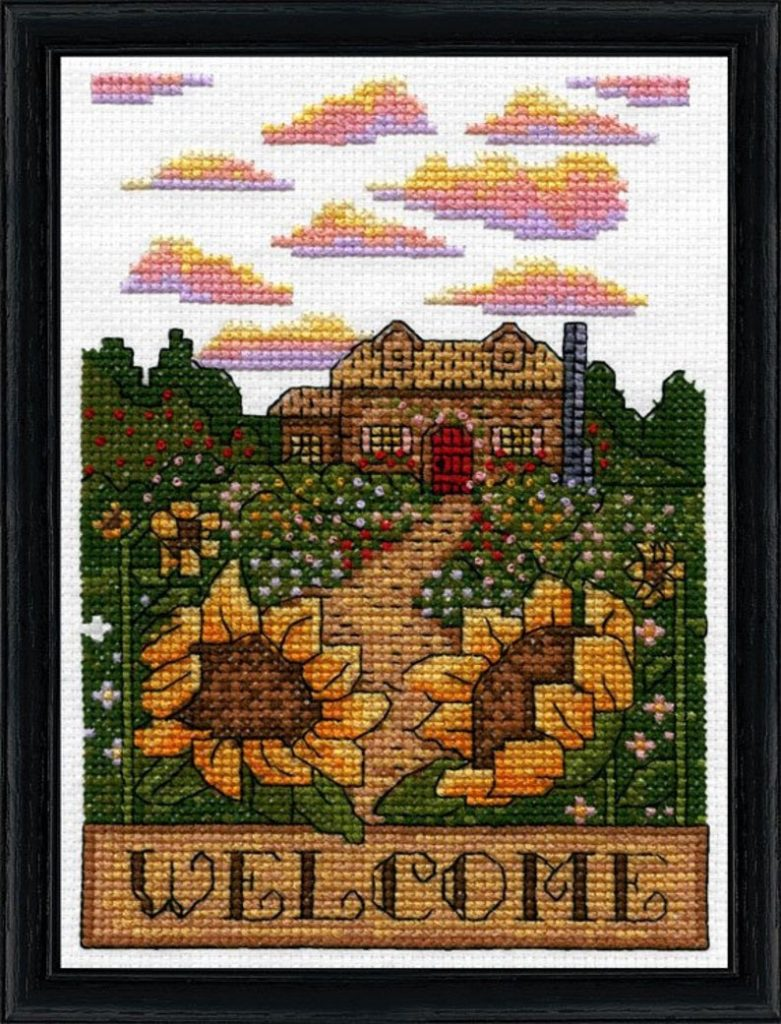 "Design Works WELCOME FALL Cross Stitch Kit 5""x7"""