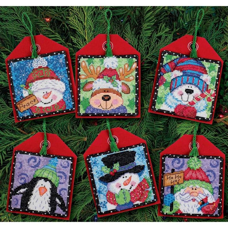 Dimensions CHRISTMAS PALS Cross Stitch Kit - Christmas ORNAMENTS Cross Stitch Kit