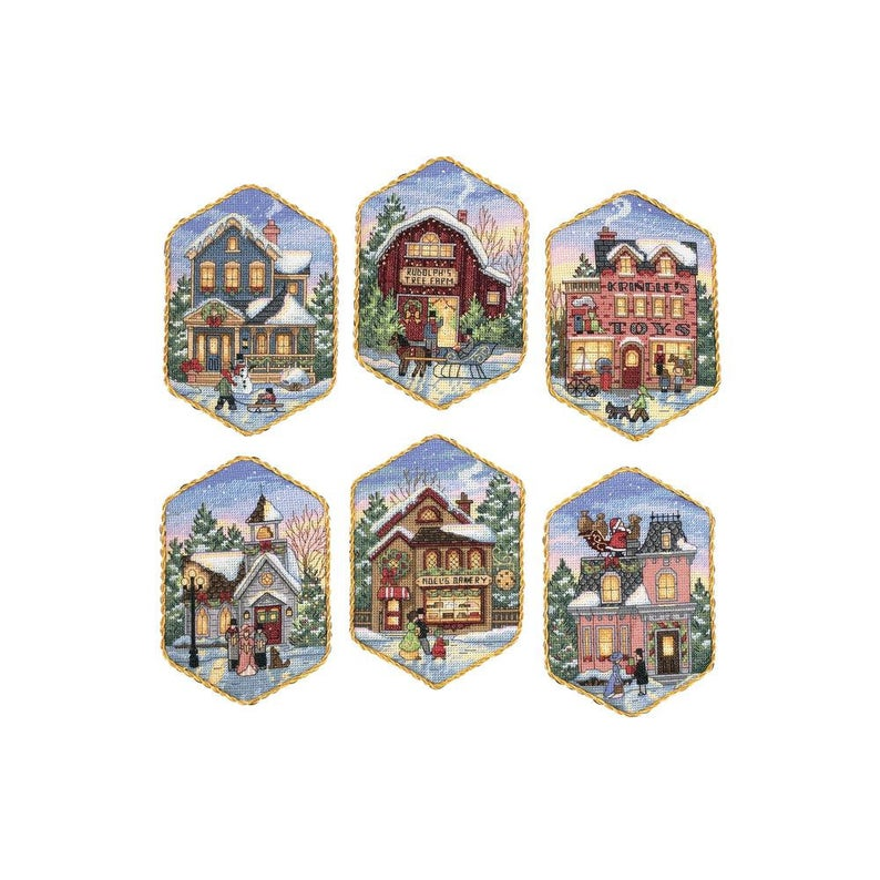 """Dimensions Gold CHRISTMAS VILLAGE ORNAMENTS Counted Cross Stitch Kit 5"""""""