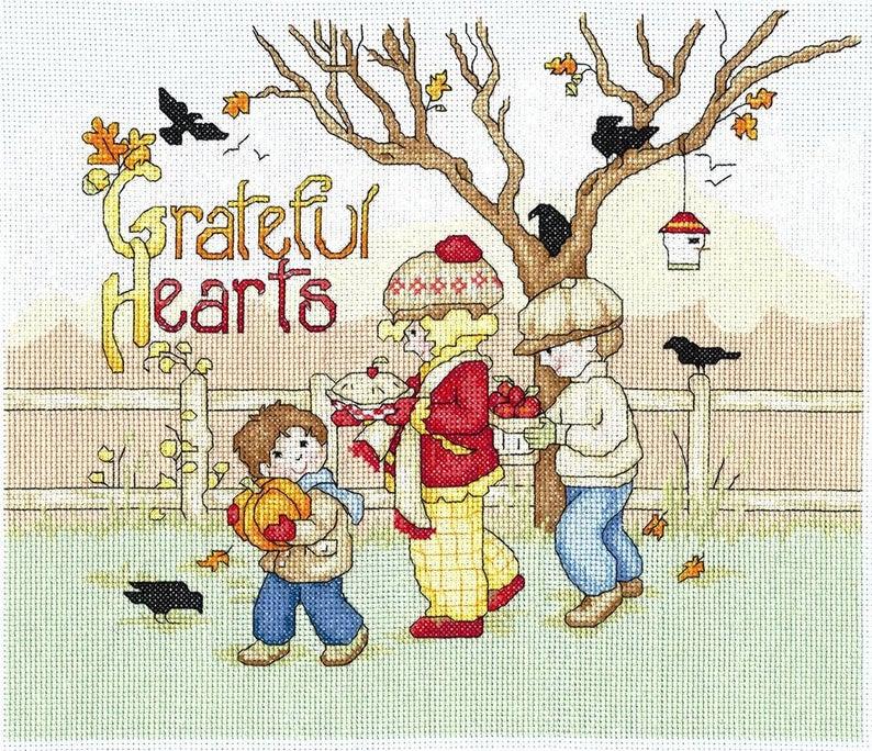 GRATEFUL HEARTS Cross Stitch KIT by Imaginating - Mary Engelbreit Cross Stitch Pattern