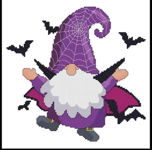 Halloween Gnomes - BAT Cross Stitch Pattern
