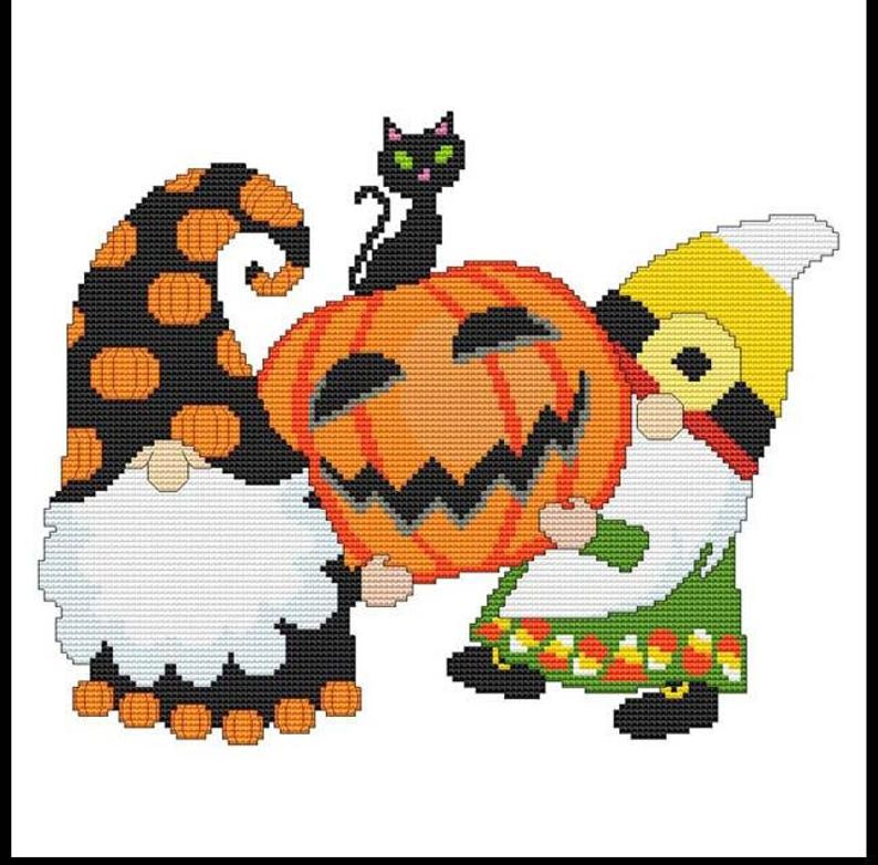Halloween Gnomes - CAT ON PUMPKIN Cross Stitch Pattern