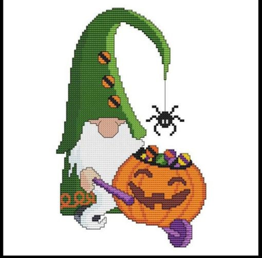 Halloween Gnomes - WHEELBARROW Cross Stitch Pattern
