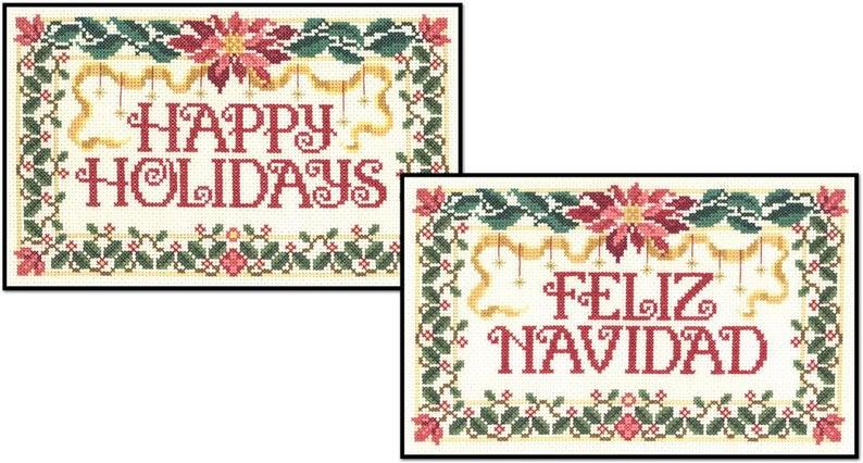 Happy HOLIDAYS FELIZ NAVIDAD Cross Stitch Pattern by Imaginating